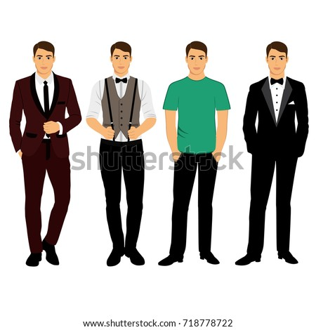 c7042df5 Collection. Men's Clothing. Wedding men's suit, tuxedo. Vector illustration