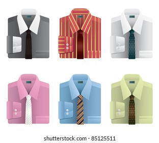 collection of mens folded shirts with ties isolated on white