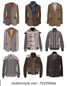 collection of men's jackets isolated on white background (vector illustration)