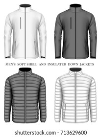 Collection of men's softshell and insulated down jacket with zip pockets. Vector illustration.
