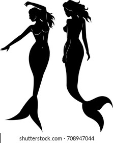 Collection of mermaid silhouettes vector