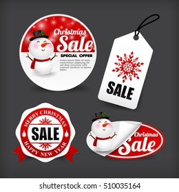 Collection of merry Christmas banner promotion sale discount style vector illustration eps 10
