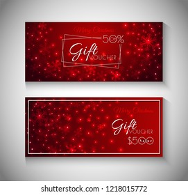 Collection of Merry Christmas Gift Voucher with best discount offers on glossy, glowing red background.