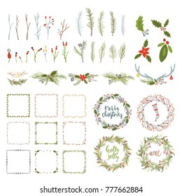 Collection Merry Christmas And Happy New Year flowers. Greeting stylish illustration of winter romantic flowers, leafs, wreaths, toys. Template for Scrapbooking,Stickers,Planner,Invitations