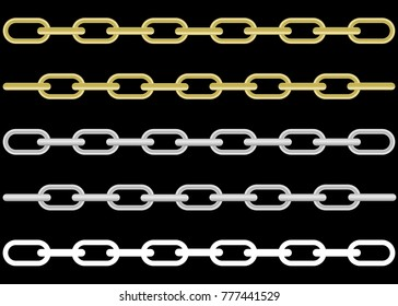 collection of metal and gold chains isolated on black background, vector illustration