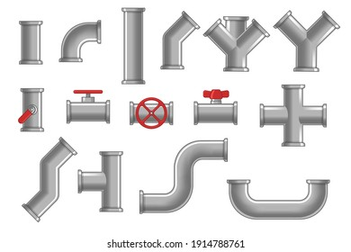 Collection of metal pipes. Gray steel pipelines, plastic tubes, valves and flanges, water drains isolated on white. Vector illustrations for plumbing, engineering, connection system concept