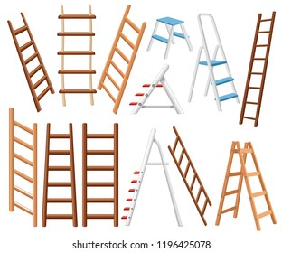 Collection of metal and wooden ladders. Different types of stepladders. Flat vector illustration isolated on white background.