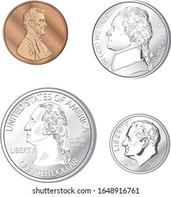 A collection of metallic looking American coins in vector format