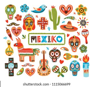 Collection of Mexican national attributes isolated on white background - pinata, sugar skulls, chili pepper, maracas, sombrero, guitar, cactus lime. Colorful vector illustration in flat cartoon style.