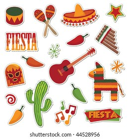 collection of mexican stickers isolated on white