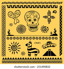 Collection of mexican vector design elements