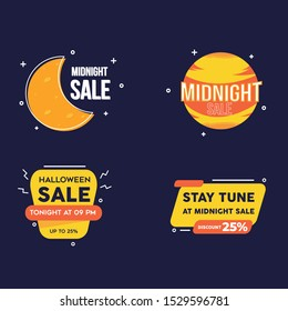 Collection of Midnight Sale Label Template for Advertising text, banner, halloween images , social media post and graphic resource. Easy to use  and editable text. Vector Illustration EPS 10