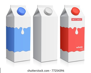 Collection of milk boxes. Milk carton with screw cap
