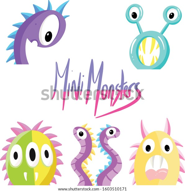 Collection of Mini Monster Fictional Imaginary Characters Cartoon Illustration Vectors