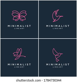Collection of minimalist animal logo design lines, butterfly and hummingbird. abstract vector design logos.