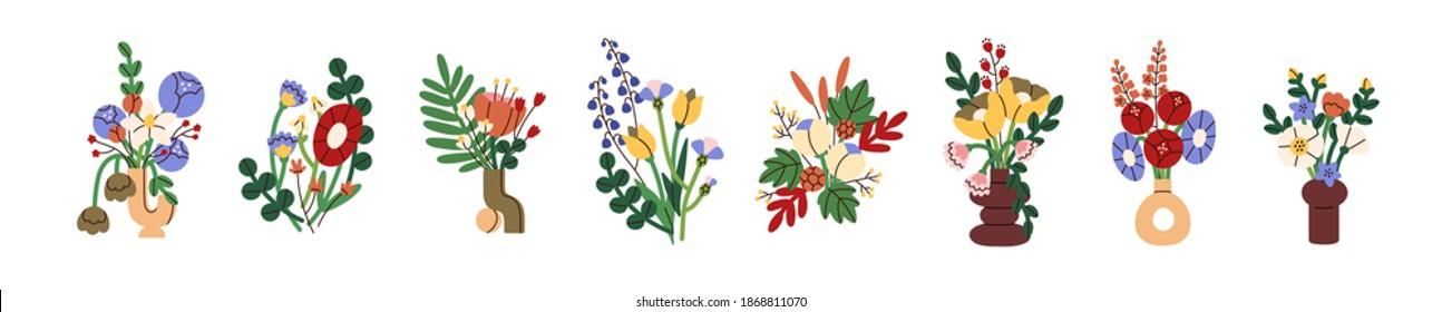 Collection of modern abstract elegant bouquets of bright blossomed flowers in vases isolated on white background. Set of trendy decorative floral composition. Colorful flat vector illustration
