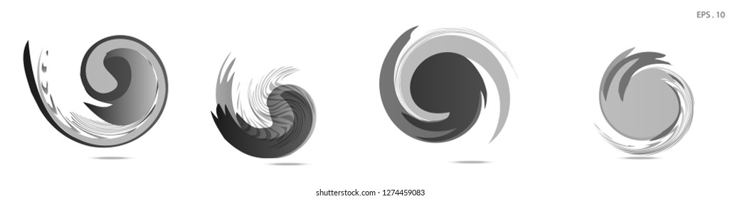 Collection of modern abstract graphic elements. Vortex vector background. Templates for logo design, leaflets or presentations. Vector illustration