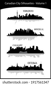 Collection of modern black and white illustrations of Canadian Cities volume 1 including Toronto, Montreal, Calgary, Ottawa. Downtown buildings skylines silhouettes. Illustrator eps vector graphics.