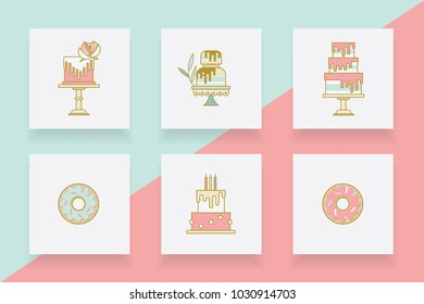 Collection of modern cake and donuts  line icons in pink and blue color hues