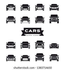 Collection of modern cars front view glyph icons vector illustration