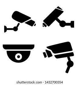 collection of modern CCTV icon. illustration silhouette of surveillance cameras. Surveillance icons set.