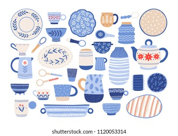 Collection of modern ceramic kitchen utensils or crockery - cups, dishes, bowls, pitchers. Set of decorative tableware items isolated on white background. Vector illustration in flat cartoon style