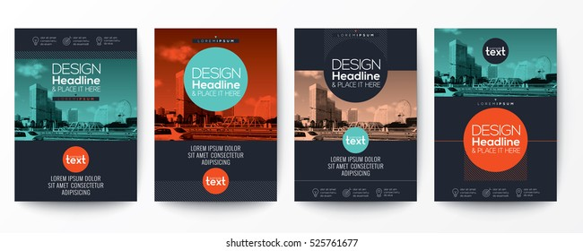 collection of modern design poster flyer brochure or annual report cover layout template with circle shape graphic elements and space for photo background