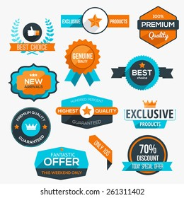 Collection of modern, flat design-styled labels and design elements. Vector