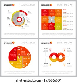 Collection of modern infographic layout can be used for web design, presentation slide, workflow layout. Business and marketing concept with process, percentage, pie charts and matrix diagram