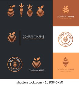 collection of modern logos of golden fruits and vegetables