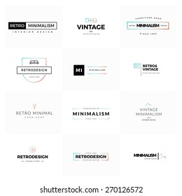 Collection of modern and minimal vintage vector logos. Modern and minimalism syled vector logos for multiple use. Fresh ideas for brand identity work.