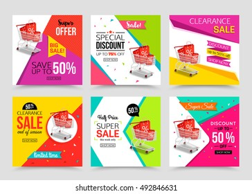 Collection of modern sale banner template. Vector illustrations.