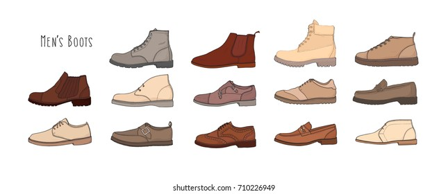 Collection of modern and stylish men's footwear - derbies, oxfords, loafers, moccasins, brogues, desert boots, boat shoes or top-siders isolated on white background. Colored vector illustration.