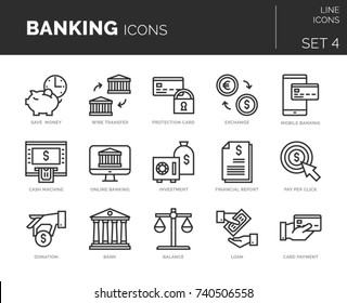 Collection of modern thin line icons set of banking and finance elements. Simple mono linear pictogram pack. Vector symbols for web.