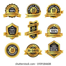 Collection money back sign with ribbon vector flat illustration. Set of realistic symbol of guaranteed return badge isolated on white. Emblem with warranty or promise with design elements