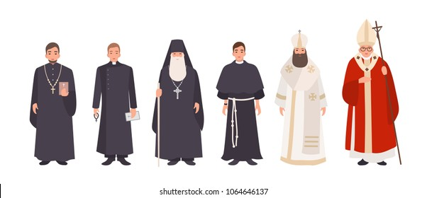Collection of monks, priests and religious leaders of Catholic and Orthodox christian churches. Bundle of clergymen or male flat cartoon characters isolated on white background. Vector illustration.