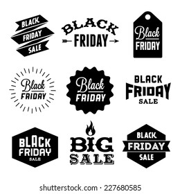 collection monochrome black friday label, badge for your business  with arrow, fire, ribbon, starburst