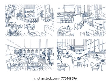 Collection of monochrome drawings of cafe interiors with modern furnishings. Bundle of hand drawn sketches of restaurants furnished in loft style. Vector illustration in black and white colors.