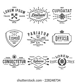 collection monochrome hipster vintage label, logo, badge for your business or t-shirt print with arrow, lightning, crown, ribbon, starburst, wreath