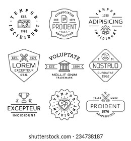 collection monochrome hipster vintage label, logotype, badge for your business or t-shirt print with photo camera, gear, pencil, bank, face,  champion cup, heart, scissors