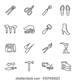 Collection of monochrome shoe repair equipment linear icons vector illustration. Set of different tools for repairing care accessories footwear isolated. Contour pictogram of footgear craftsman