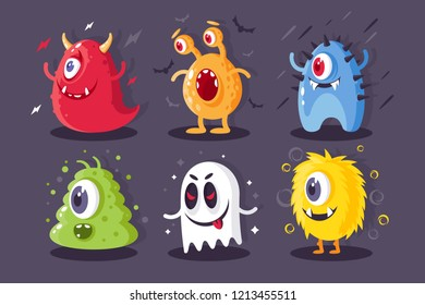 Collection monsters with electrical, toxical, frost, horrible elements for halloween. Concept set creatures for event. Vector illustration.