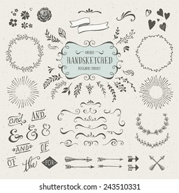 collection of more than 60 hand-sketched elements - florals, calligraphic elements, arrows, ampersands and catchwords, bursting rays, wreaths and much more