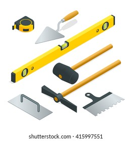 Collection of most common types of masonry tools. Flat 3d isometric vector illustration.