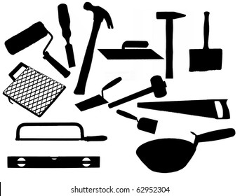 Collection of most common types of masonry tools, vector illustration