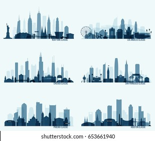 Collection of most popular North American cities with its most notable attractions. New York, Los Angeles, Chicago, San Francisco, Phoenix, Huston. Easy editable detailed vector illustration.
