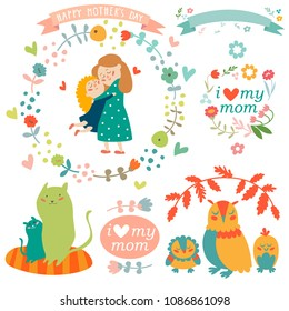 Collection of Mothers Day design elements isolated on white background. Hand drawn decoration objects set - mom and baby, owl and cat family, flowers and greetings