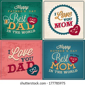 Collection of Mother's and Father's Day Greeting Card Templates in Vintage Style
