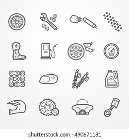 Collection of motorcycle parts icons in line style. Spare parts, tools and rider gear. Motorcycle store or service vector stock image.