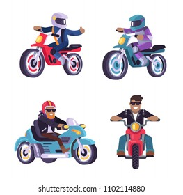 Collection of motorized bike racers men isolated on white background, people on moped sportbikes vector illustration bikers ride on modern motorbikes